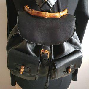 Gucci Black Bamboo Leather backpack shoulder bag